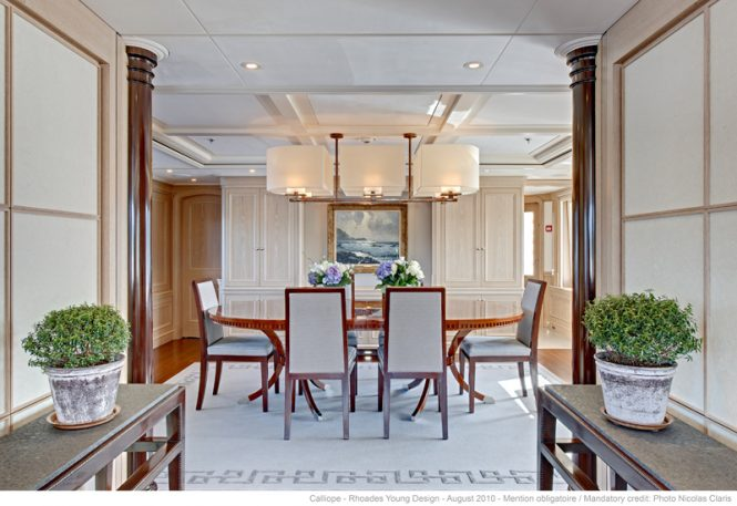 Formal dining area aboard luxury yacht NINKASI