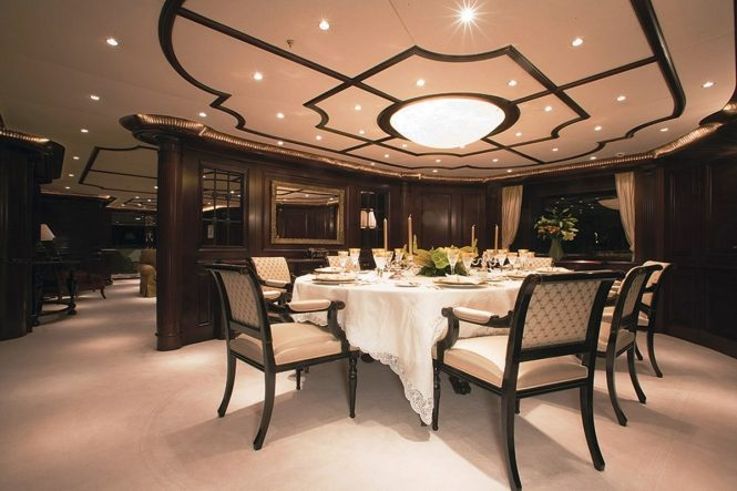 Formal dining area aboard superyacht ELENI