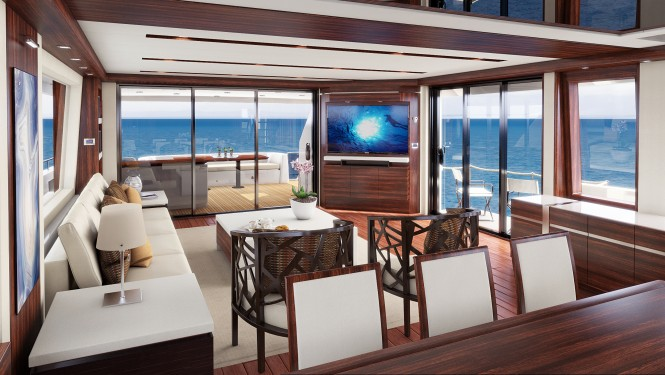 Hatteras 90 superyacht line - Main salon and formal dining area with view of main deck aft and side balcony