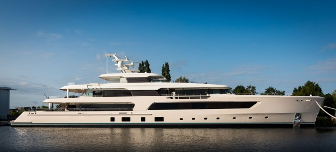 Hull 696 emerged from the facilities at Aalsmeer over the weekend. Photo credit - Feadship