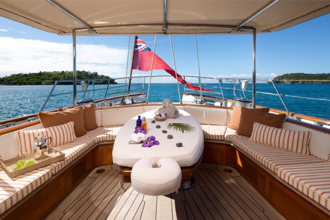 Luxury yacht ATHOS - Massage therapy in the aft cockpit