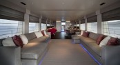 Luxury yacht AURORA - Open plan salon and formal dining area. Image credit - Tecnomar