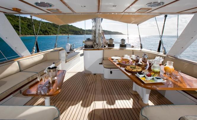 Luxury yacht AXIA - Wheelhouse lounge and alfresco dining area