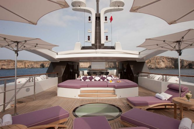 Luxury yacht ST DAVID - Forward view of the sundeck