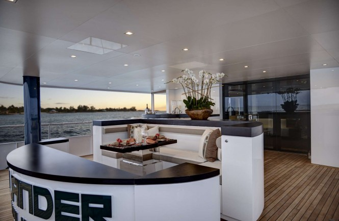 Main deck aft aboard luxury yacht HIGHLANDER