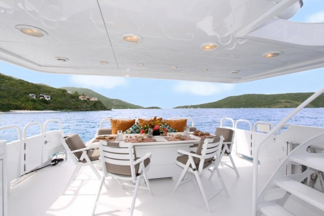 Main deck aft alfresco dining aboard M/Y INSATIABLE