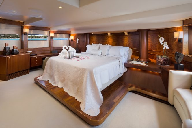 Master suite aboard motor yacht BRAZIL