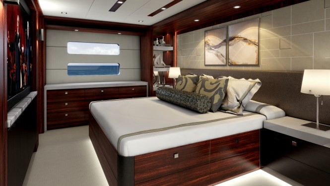 Master suite aboard the Hatteras 90 line