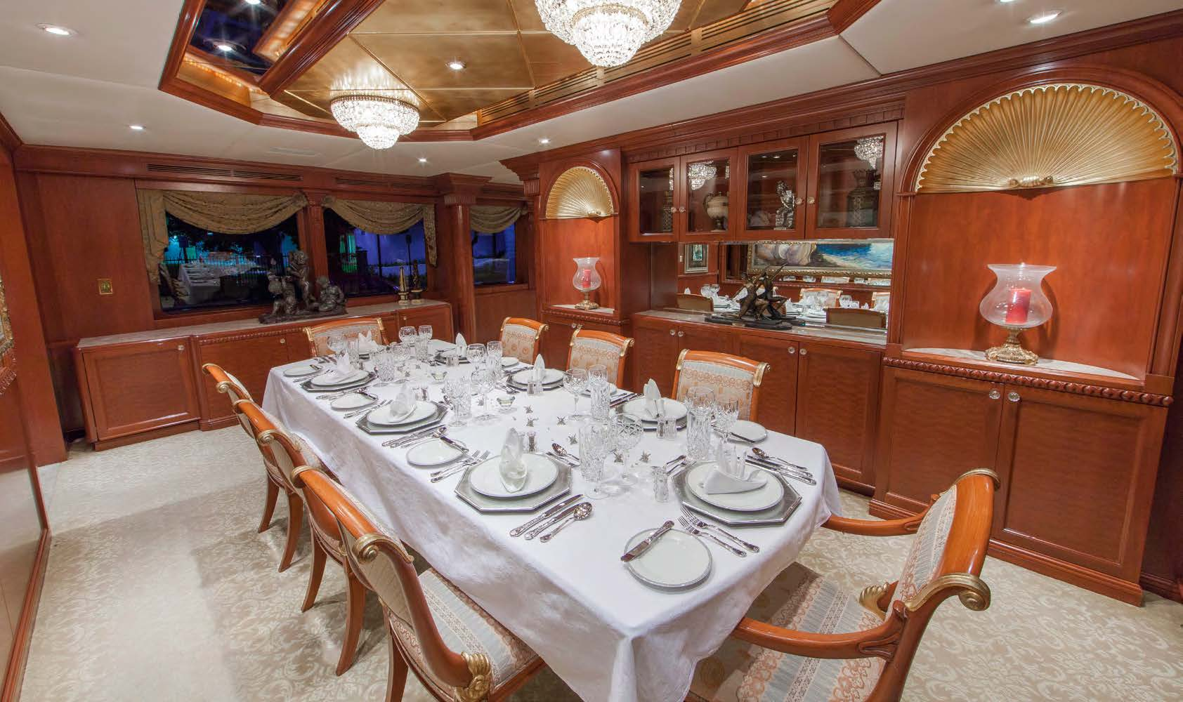 Charter superyacht relentless in the bahamas yacht for Formal dining area