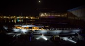Perini Navi sailing yacht SEVEN at night