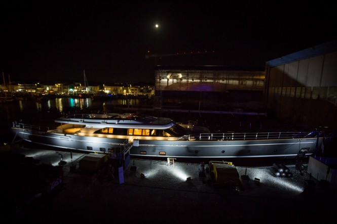 Perini Navi sailing yacht SEVEN at night