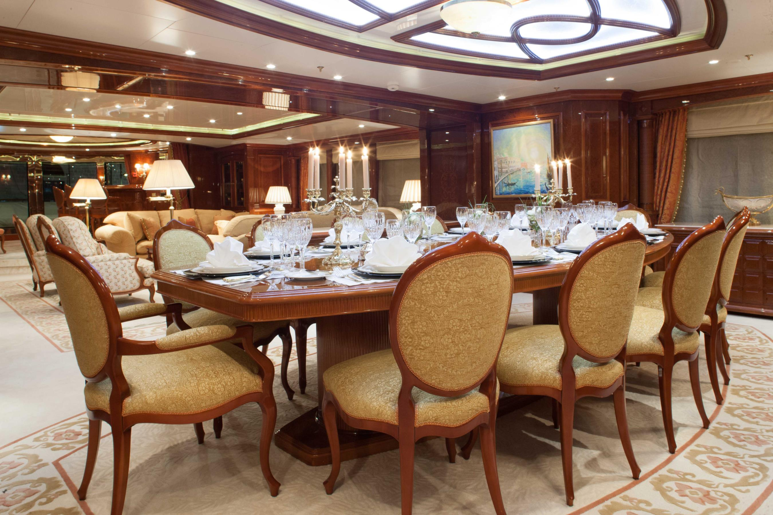 Superyacht st david formal dining area yacht charter for Formal dining area
