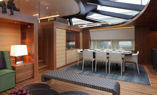 Superyacht STATE OF GRACE - Formal dining area with salon behind