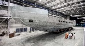 The new Pershing 140 hull has arrived at the facilities in Ancona, Italy