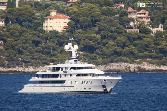 74m Lurssen superyacht AURORA on her way to the Monaco Yacht Show. Image credit Raphael Belly