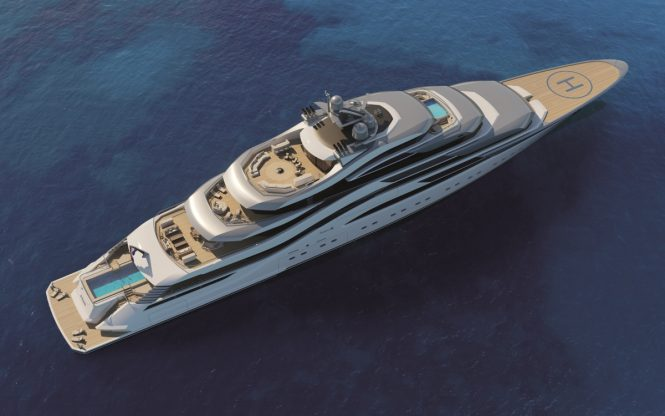 Aerial view of Motor yacht POLLUX concept from Amels and H2 Yacht Design