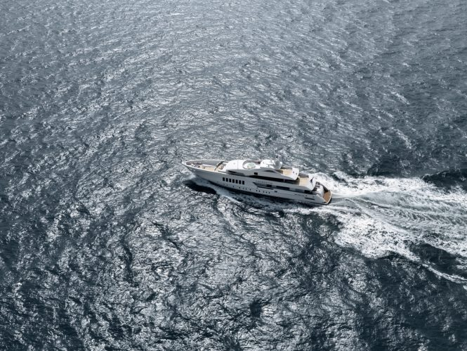 Aerial view of motor yacht LAURENTIA. Photo credit: Dick Holthuis