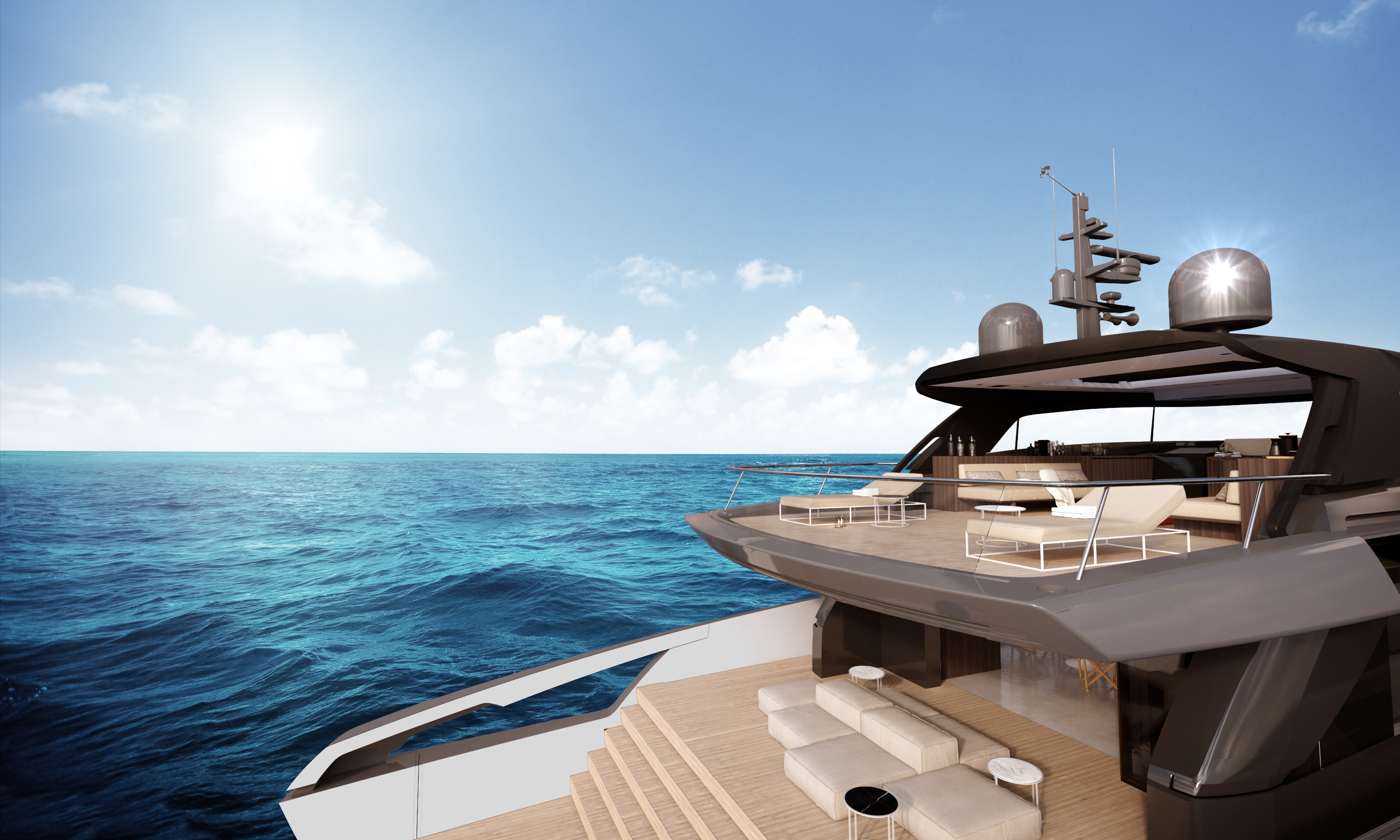 Aft view of the Sanlorenzo luxury yacht SX88
