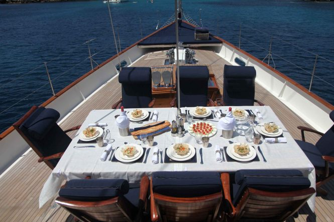 Alfresco dining on the bow of Superyacht ALEXA