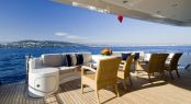 Alfresco dining on the main deck aft of luxury yacht KIJO