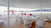 Alfresco dining on the upper deck of luxury yacht MISCHIEF