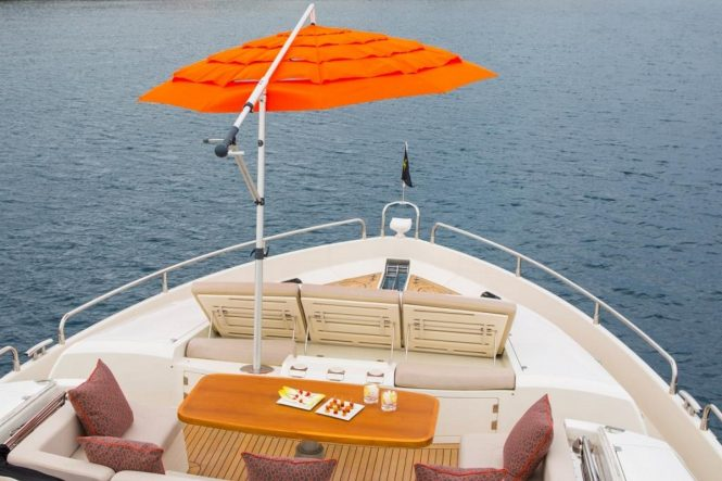 Bow sun loungers and Portuguese deck aboard luxury yacht FIRECRACKER