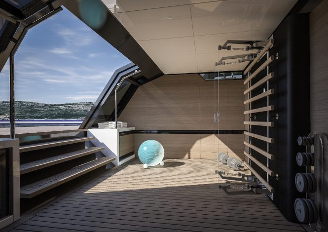 FOR.TH luxury yacht concept - The gym can alternatively be used as a beach club