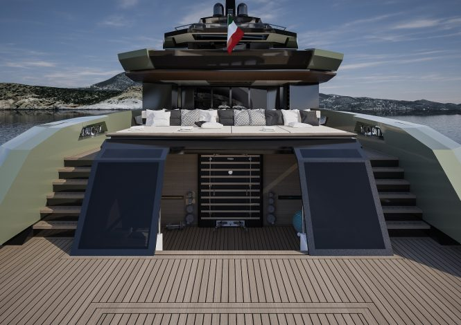 FOR.TH superyacht concept - Main deck aft sunpads and beach club or gym