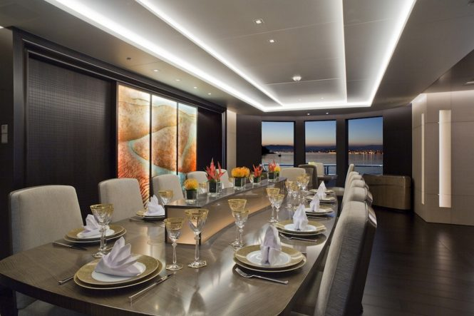 Formal dining aboard luxury yacht MOGAMBO