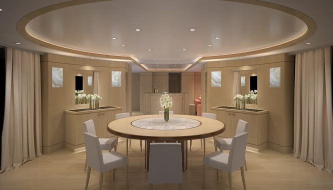 Formal dining aboard motor yacht BLUE VISION