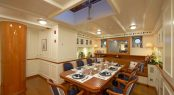 Formal dining area aboard classic sailing yacht GERMANIA NOVA