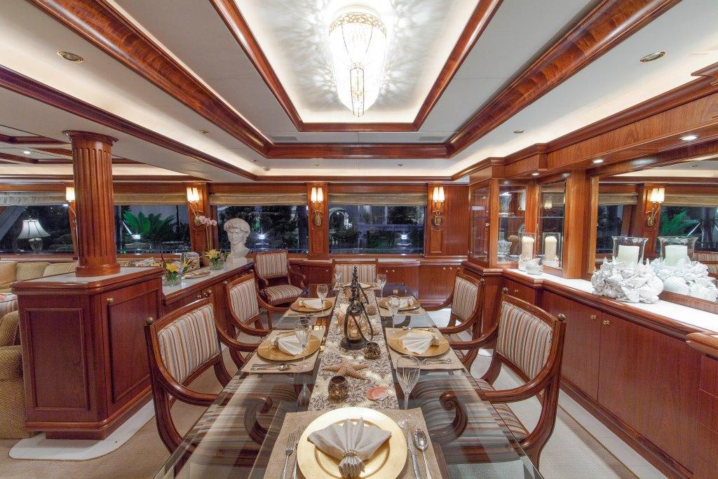 Formal dining area aboard luxury yacht ocean club yacht for Formal dining area