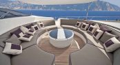 Forward deck seating aboard motor yacht TOBY