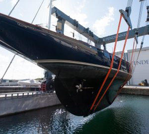 Mariette of 1915 returns to Pendennis yard for refit