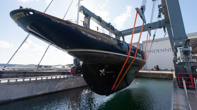 Luxury schooner MARIETTE OF 1915 at the Pendennis shipyard in Falmouth, UK