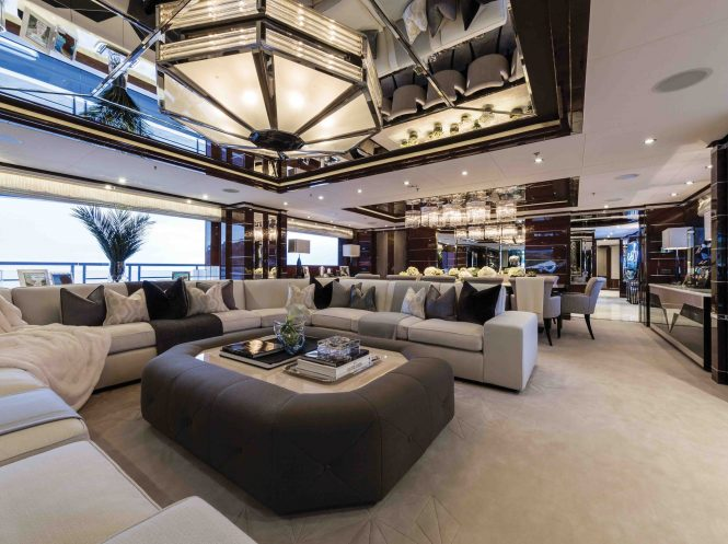 Luxury yacht 11 - Main salon with formal dining area and bar