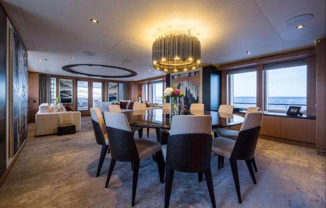 Luxury yacht GO - Main salon and formal dining area