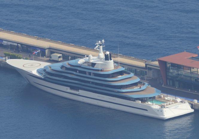 Luxury yacht JUBILEE docked in Monaco. Image credit Didier Didairbus
