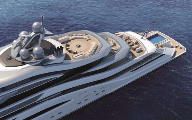 Luxury yacht POLLUX concept - Aft deck amenities