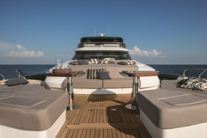 MCY 96 - Bow lounge. Photo credit Monte Carlo Yachts