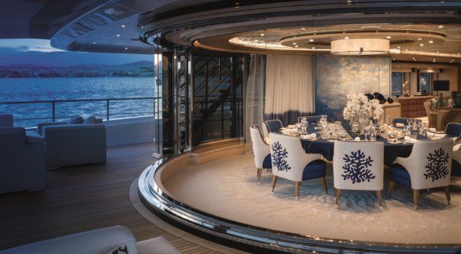 M/Y CLOUD 9 - Upper deck aft formal dining area