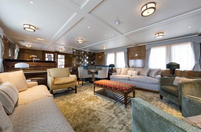 Main salon aboard luxury yacht MALAHNE