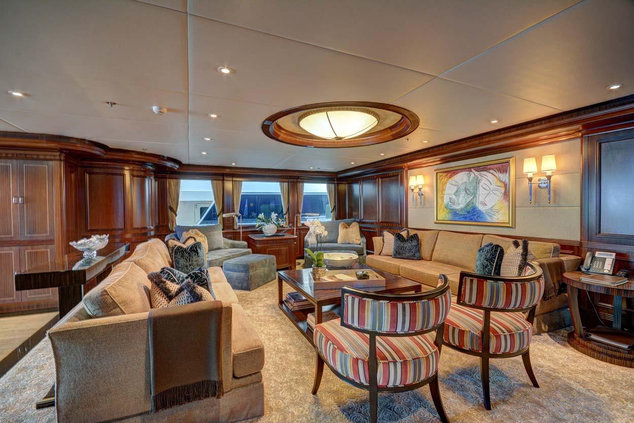 Main salon aboard luxury yacht SOVEREIGN