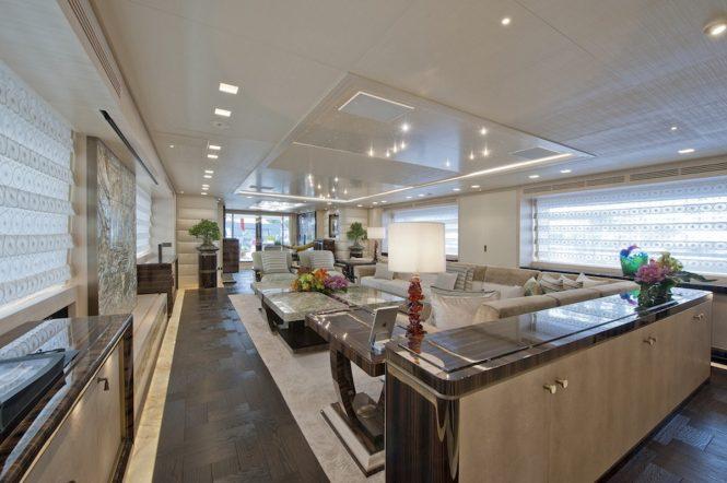 Main salon aboard motor yacht SCORPION