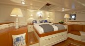 Master suite with private lounge aboard luxury yacht GERMANIA NOVA