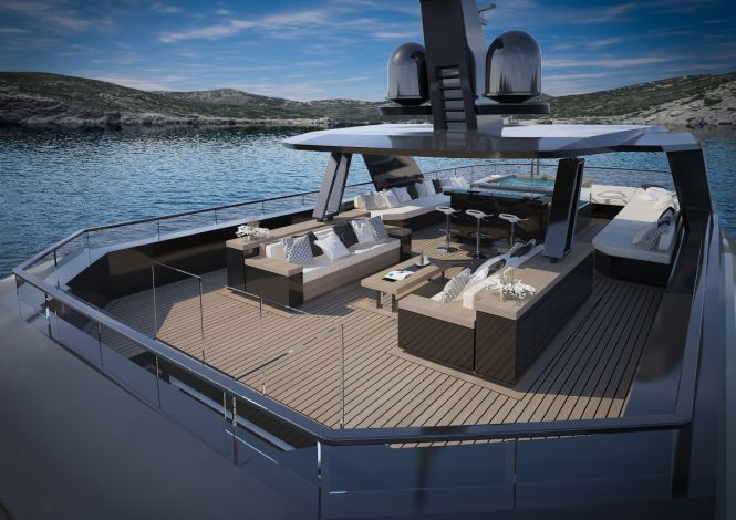 Motor yacht FOR.TH - Sundeck lounge, bar and Jacuzzi