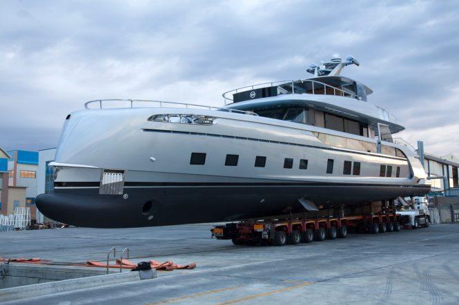 Motor yacht GTT 115 preparing for launch at the Dynamiq Yachts shipyard