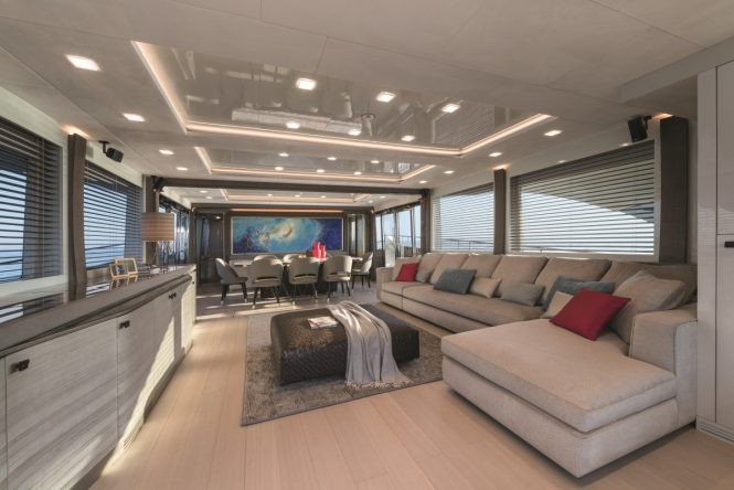 Motor yacht MCY 96 - Main salon. Photo credit Monte Carlo Yachts