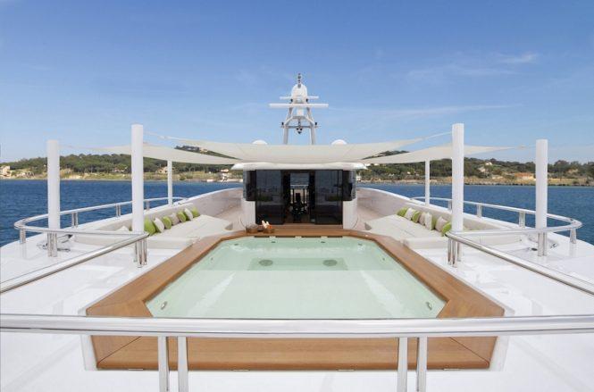 Motor yacht MOGAMBO - Sundeck Jacuzzi. Photo credit: Bruce Thomas