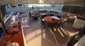 Motor yacht QUEST R - Upper deck aft alfresco dining and stern seating